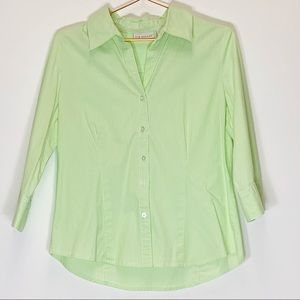 Kim Rogers Striped Green White Button Up shirt Med